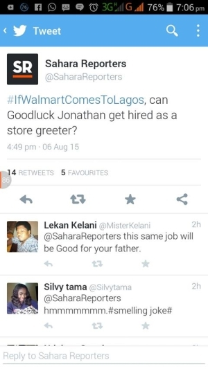 Yawa!! Sahara Reporters Insults Jonathan On Twitter [See Photos]